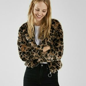 Bershka LEOPARD Print Faux Fur Jacket